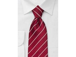 Kravata elegantní chilli červená proužkovaná